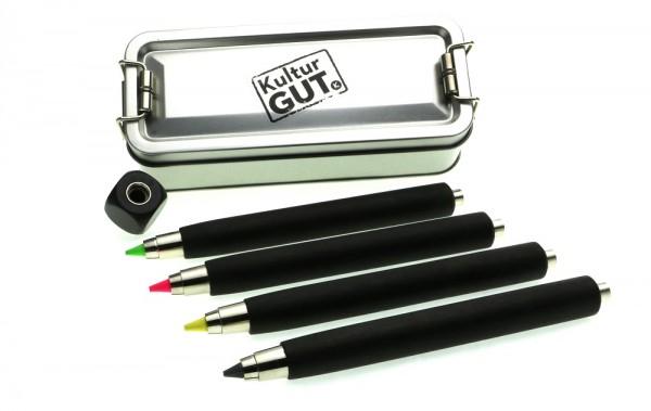5er Textmarkerbox Workman long schwarz mit Textmakerminen und Spitzer Cube in Klappbox S.jpg