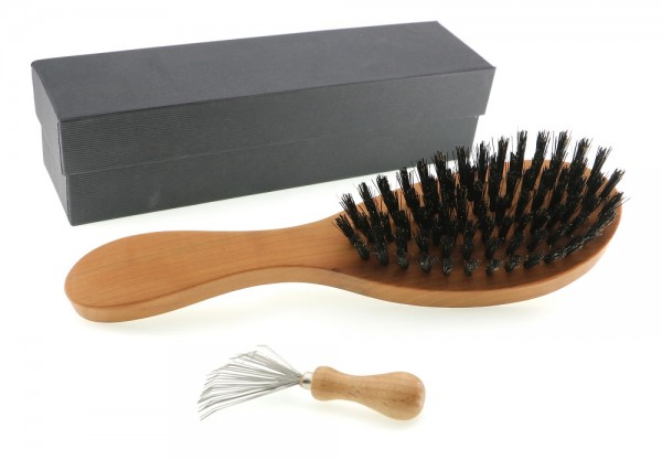 Langhaarbürste birne mit Kammreiniger in schwarzem Karton NEU.jpg