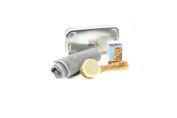Gesichtsmassagebürste Olive   Seife 100g   Handtuch   XL Box.jpg