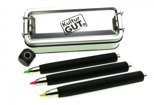 4er Textmarkerbox Workman long schwarz mit Textmakerminen und Spitzer Cube in Klappbox S.jpg